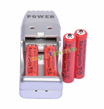 4X Batería recargable NiMH AAA 3A 1800mah 1.2V rojo color+ Cargador USB