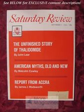 Saturday Review September 1 1962 THALIDOMIDE MALCOLM COWLEY JAMES WADSWORTH