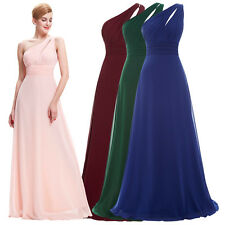St.  One Shoulder Dress Chiffon Formal Wedding Bridesmaid Evening Ball Gown Prom