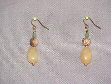 Yellow Jade, Picture Jasper & Green Aventurine Earrings for Pierced Ears