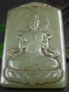 Chinese Antique Celadon Nephrite Hetian-OLD JADE-Buddhism Pendant statue897