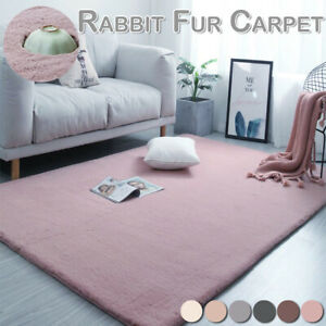 Fluffy Faux Rabbit Fur Area Rug Soft Thick Shaggy Floor Carpet Mat For Home Room