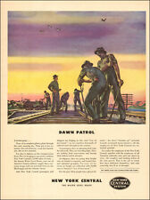 1942 WW2 AD NEW YORK CENTRAL Railroad  Workers on Tracks Planes above  (032515)