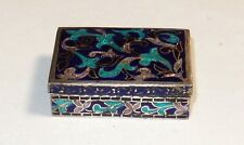 LARGE STERLING SILVER CLOISONNE ENAMEL PILL SNUFF JAR BOX MARKED SILVER