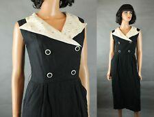 Vintage 40s Cocktail Dress Sz S Black Off White Wool Sleeveless Rhinestone Gown
