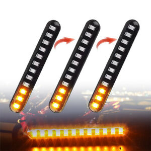 2X 12V Sequential Flowing Motorcycle 12 LED Mini Strips Turn Signal Light Amber