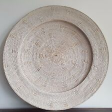 Tray, wall hanging, rattan with motif, white washed, 1m diam, decorative, decor