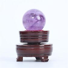 40mm Natural Quartz Amethyst Crystal Ball Sphere Healing Reiki Gemstone + Stand