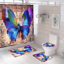Butterfly Shower Curtain Bathroom Rug Set Bath Mat Non-Slip Toilet Lid Cover