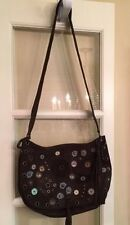 Authentic Marni Brown Flower Appliqué Suede Handbag