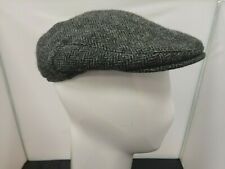 Mens Marks & Spencer Moon Tweed Black Grey Herringbone Wool Flat Cap Size Small