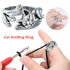 Us Cat Open Ring Knitting Loop Crochet Rings Thimble Guide Tool Home Sewing