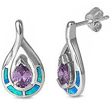 Faceted Amethyst & Blue Opal .925 Sterling Silver Earrings