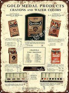 """1930 Crayola Gold Medal Rubens Crayolet Crayon Paint Metal Sign 9x12"""" A387"""