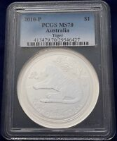 2010 1 oz PCG MS70 Silver Australian Year of the Tiger Coin Bullion Australia