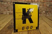 Reklame Emailschild K EGD Kabel Emailleschild gebaucht Werbung Antik Deko Schild
