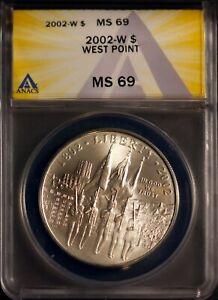 2002-W $1 West Point Silver Dollar MS 69 ANACS # 7269882 + Bonus