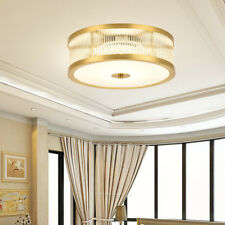 Modern Luxury Brass Round Shade Clear Glass Ceiling Flush Mount Reading Room Art