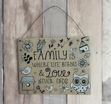 Metal Wall Sign 'Family Is Where Life Begins...' Owls Flowers Hanging Plaque