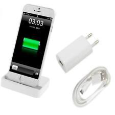 3in1 Dockingstation mit Netzteil Ladekabel für iPhone 5 5S 6 6S 6 Plus - Weiß