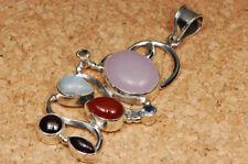 Anhänger mit Regenbogen-Mondstein Granat Amethyst Citrin Iolith 925 Silber