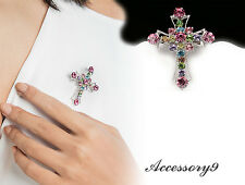 Cross silver Crucifix Brooch pin D32 2pcs sparkly mix color crystal Rhinestone