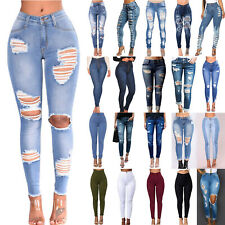 Women High Waisted Stretchy Skinny Denim Jeans Slim Ladies Jeggings Ripped Pants