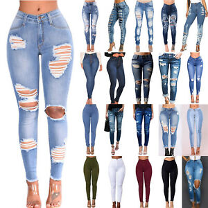 Women High Waisted Ripped Hole Skinny Denim Jeans Stretch Pencil Trousers Pants
