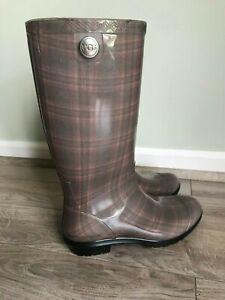 Ugg Australia Womens Rain Boots Size 7 Brown Logo Tall