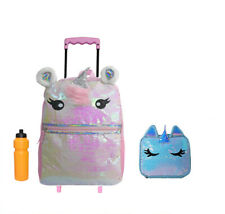New Unicorn Rolling Backpack with Bonus Lunch Case
