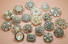 20 Mixed Clear Glass Rhinestone Silver Metal Shank Buttons 20-30mm Great Price!