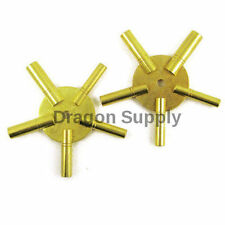 New Brass Universial Clock Key for Winding Clocks 5 Prong EVEN & ODD Numbers