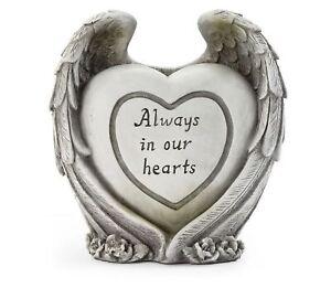 Garden Memorial Stone Always In Our Hearts Angel Wing Statue