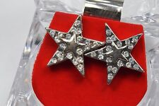 Men's Silver Plated Star Simulated Diamond Earrings