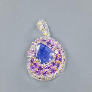 Jewelry Fine Art Blue Sapphire Pendant Silver 925 Sterling  /NP14204