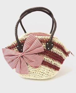 Women's Straw Handbag Beach Bag With Bow