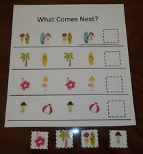 Beach themed What Comes Next laminated preschool child learning game for daycare