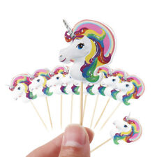 12 Unicorn Cake Picks / Cupcake Toppers Birthday Cake Decorations Flags