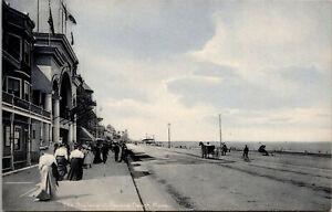 Vtg 1900s Revere Beach The Boulevard Street Scene Horse Buggy Bike MA Postcard