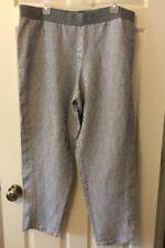 J.Jill Womens Size XL Extra Large Gray White Linen Blend Pants Elastic Waist