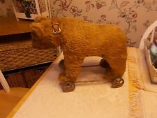 EARLY 1900S MOHAIR COVERED BEAR ON FOUR METAL WHEELS ALL ORIGINAL WONDERFUL FACE