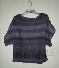 Nine West Vintage America Collection Short Sleeve Gray/Purple Sweater Large