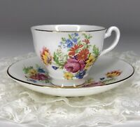 Vintage Spring Floral Pattern Gold Trim Bone China Tea Cup & Saucer Set England