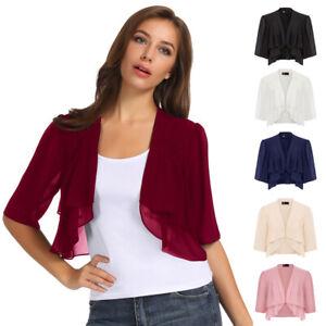 Womens Sheer Bolero Chiffon Shrug Crop 3/4 Sleeve Cardigan Jacket Ruffle Outwear
