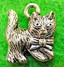 10Pcs. Tibetan Silver CAT w/ Bow KITTY Charms Pendants Earring Drops C03A