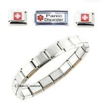 Panic Disorder Superlink 9mm Italian Charm Medical Alert ID Bracelet Anxiety