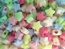 20 perle foro largo plastica stelle pastello, 1,3x1,3 cm, foro 4 mm bigiotteria