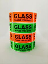 1000 1x3 GLASS HANDLE WITH CARE Labels Stickers NEON RED GREEN FLUORESCENT NEW