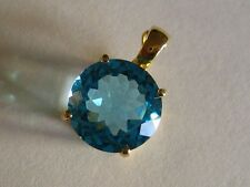New 14k Solid yellow Gold Y/G Blue Topaz Pendant, 12mm*12mm, Round, P-063502