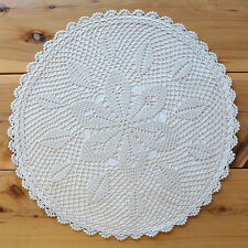 Hand Lace Cotton Cushion Cover Table Centre Piece Round 40 cm Ivory